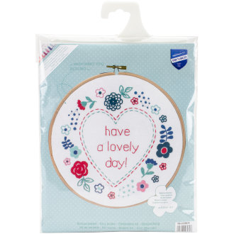 """Modern Flowers Lovely Day Stamped Embroidery Kit-8"""" Round"""