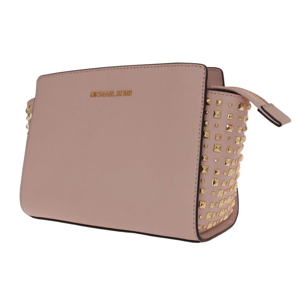 6af8fdc9d81d8f ... Michael Kors Handbags Pale Pink SELMA STUD Leather Messenger Bag - 3 ...
