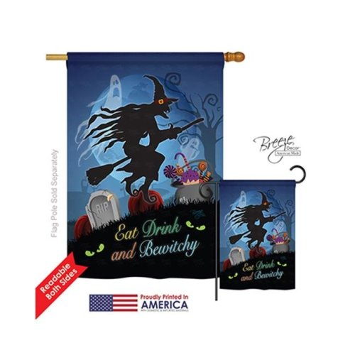 Breeze Decor 12005 Halloween Bewitchy 2-Sided Vertical Impression House Flag - 28 x 40 in.