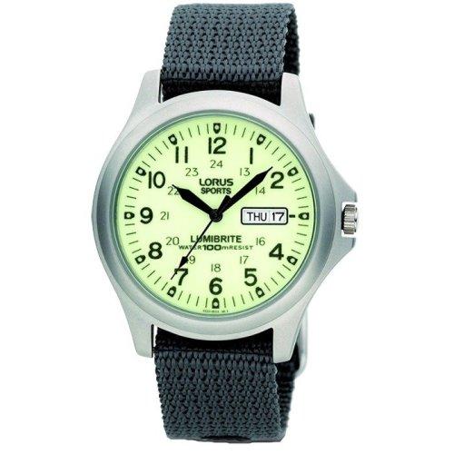 Lorus Military Lumibrite Dial Day-Date Grey Nylon Strap Gents Watch RXF41AX7