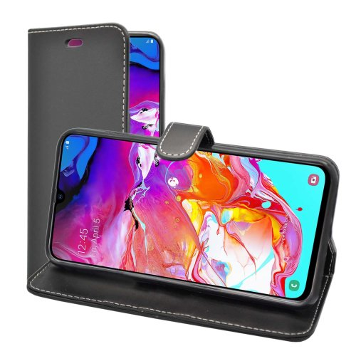 Wallet Flip Cover Case In Black For Samsung Galaxy A70 2019