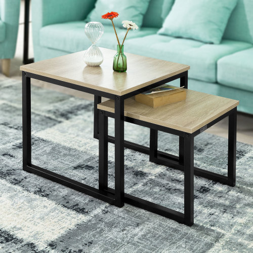 SoBuy® FBT42-N, Nesting Tables Set of 2 Coffee Table Side Table End Table