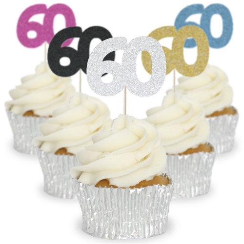 Glitter Cupcake Toppers Picks Pics No 60 - 12/Pk