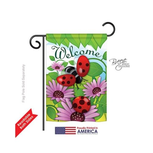 Breeze Decor 54071 Welcome Ladybug 2-Sided Impression Garden Flag - 13 x 18.5 in.