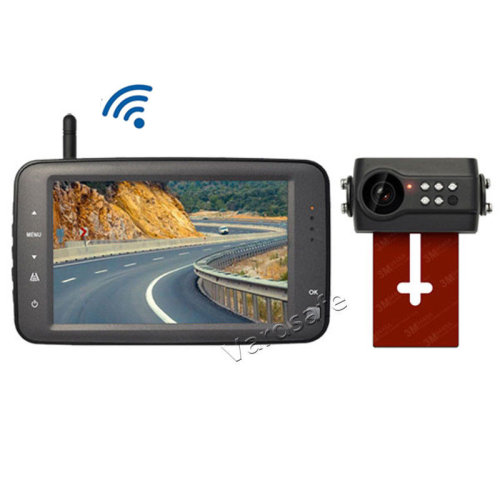 Vardsafe Wireless License Plate Parking Rear View Reverse Backup Camera with 4.3 Inch Monitor for Car Van RV Truck