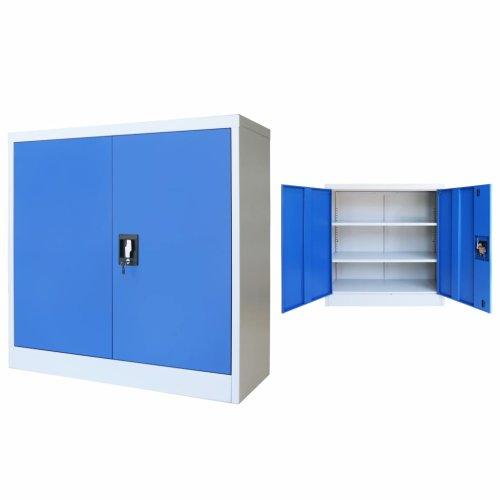 vidaXL Office Cabinet Metal  90x40x90cm Grey and Blue Locker Storage Organiser