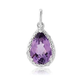 9ct. White Gold Diamond and Amethyst Pendant