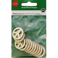 Assorted Wood Shapes-Peace Signs 12/Pkg