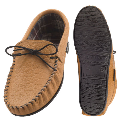 7bd207fbadf Lambland Mens Fabric Lined Genuine Leather Moccasin Slippers on OnBuy