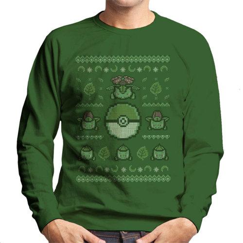 Pokemon Christmas Sweater.Gotta Stitch Them All Grass Christmas Knit Pokemon Men S Sweatshirt
