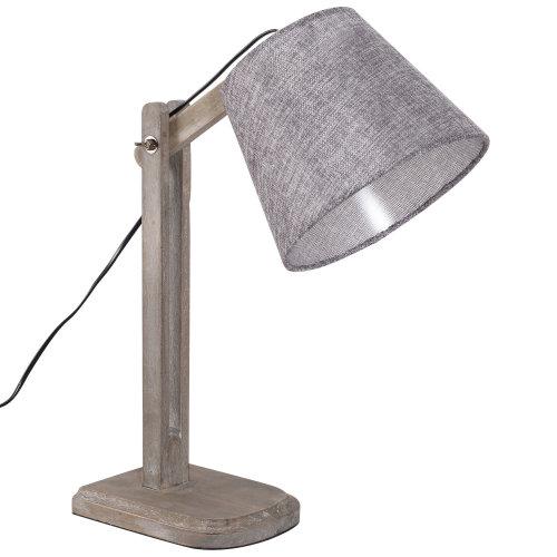 HOMCOM Adjustable Bedside Table Lamp Solid Wood Holder Soft Light Glow E27 Base Bedroom Living Room
