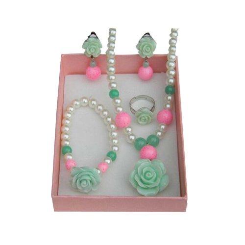 Beautiful Green Girl Jewelry Set Bracelet/Necklace/Ear Clips/Ring