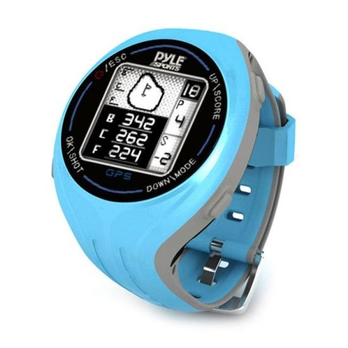 Pyle PSGF605BL Personal GPS Golf Watch with Automatic Course Recognition - Preloaded USA Golf Courses - Blue Color