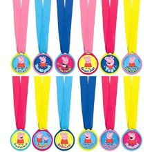 "Peppa Pig Birthday Party Award Medals Favour, Magenta,Pink,Royal Blue,Light Blue,Yellow, Fabric , 13"", Pack of 12"