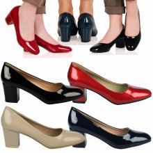 b329cc3f9ab Yvonne Womens Mid Block Heel Slip On Smart Office Ladies Patent Court Shoes