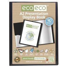 1 x A2 Recycled 40 Pocket(80 Views) Presentation Display Book - Black