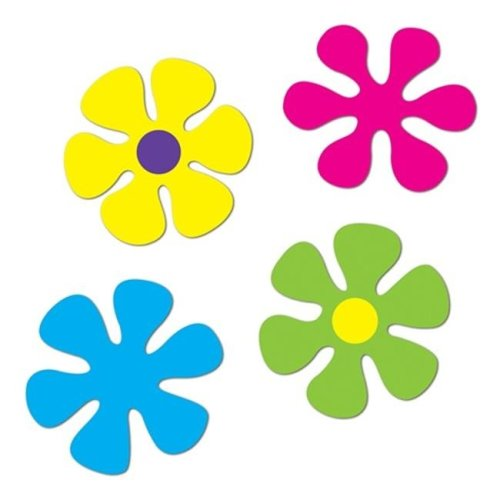 """Beistle 54497 12"""" Retro Flower Cutouts Pack of 12"""