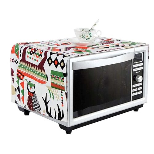 Stylish Microwave Oven Dust Cover Dustproof Cloths with Pockets Forest