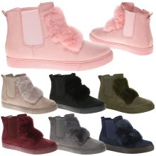 Fifi Womens Fur Pom Pom High Top Ankle Boots