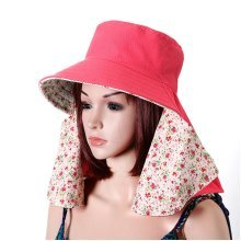 Women Outdoor Gardening Face Neck Sunscreen Wide Brim Beach Hat Double-side Flower Printed Caps