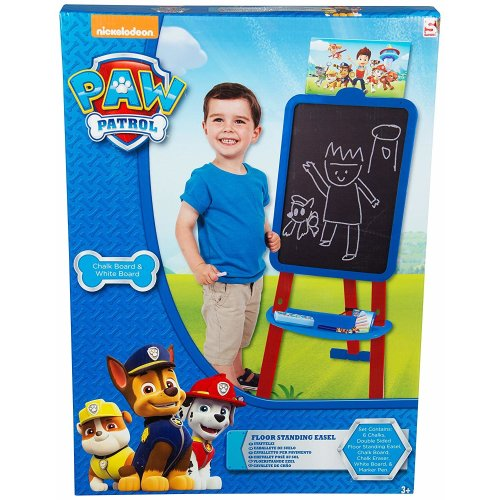 Paw Patrol Boys Floor Standing Art Easel For Kids 2 in 1 Chalk Board And White Board