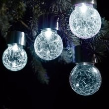 Solalite Set of 3 Solar Hanging Crackle Ball Globe Lights Outdoor Garden Party - White LED