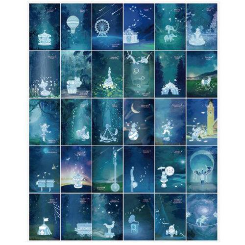 Creative 30 PCS 1 Set Luminous Beautiful Greeting Postcards, Quiet Night