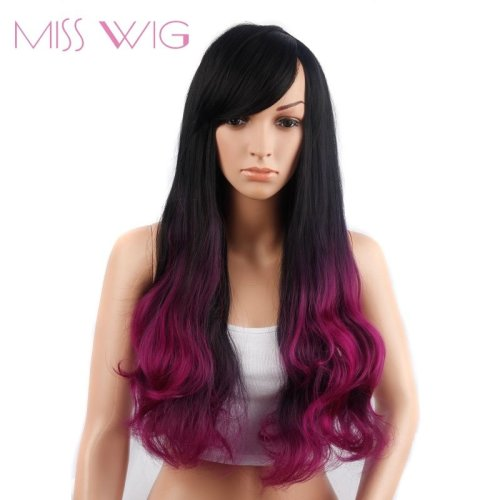 Long Wavy Hair Wigs for Fashion Women Ombre Color None Lace Synthetic Wig