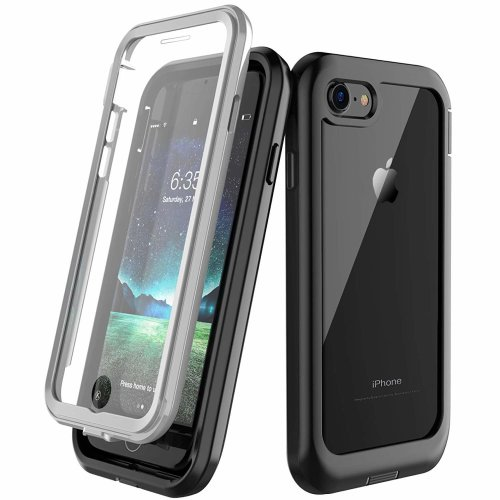 quality design dba1e ad8a6 iPhone 7 Case iPhone 8 Case, Built-in Screen Protector Cover 360 Degree  Protection Rugged Clear Bumper Case with Kickstand for Apple iPhone 7/8...