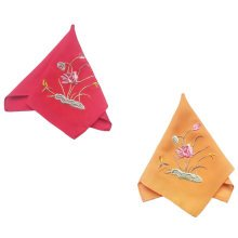 Two Pieces Of Elegant And Retro Lotus Flower Embroidered Handkerchiefs-g