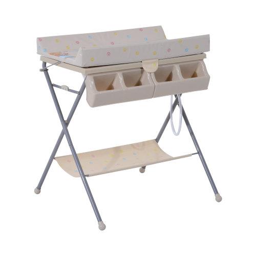 HOMCOM Baby Changing Table Baby Storage Bath Tub Unit Station Dresser Foldable Cross Leg Style (Beige)