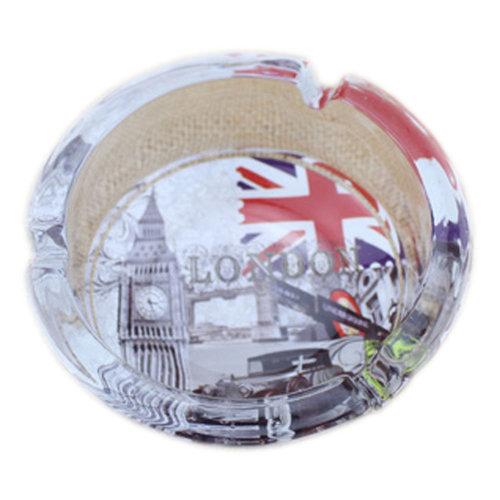 [London Scenery C]Creative Gifts Men's British Style Crystal Glass Ashtray