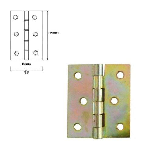 20 Pcs Folding Closet Cabinet Door Butt Hinge Brass Plated 40x40mm