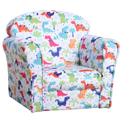 HOMCOM Children's Armchair Kids Sofa Tub Chair Seat Cartoon Dinosaur Pattern Bedroom Flannel Wooden Frame Non-slip Playroom Seater