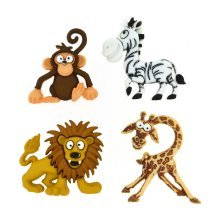 Silly Safari - Animal Shaped Novelty Craft Buttons / Embellishments by Dress It Up