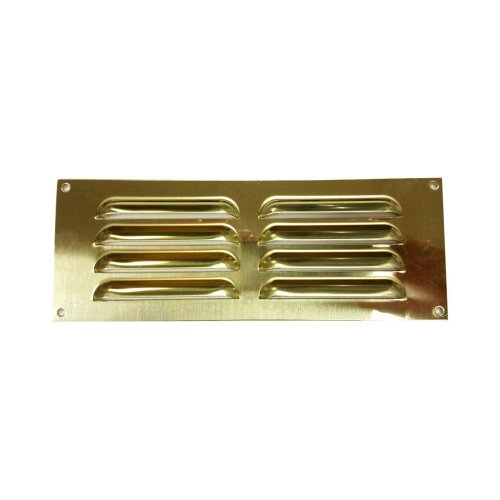 Bulk Hardware BH00510 Louvered Air Vent Grille, 240 x 90 mm (9.45 x 3.55 inches) - Polished Solid Brass