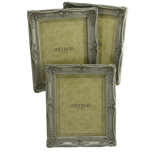 THREE Sixtrees Chelsea 5-255-80 Shabby Chic Ornate Silver 10x8 inch Photo Frames