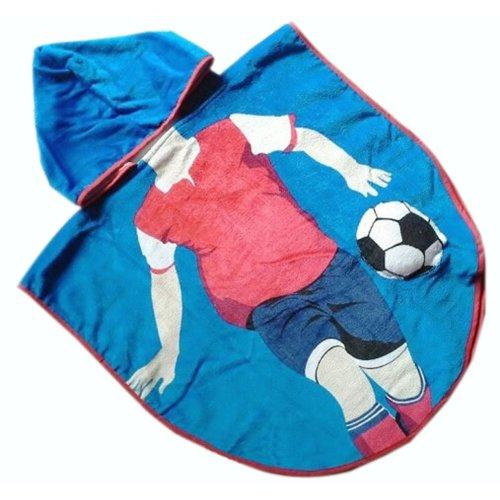 Lovely Cartoon Series Blue Football Boy Hooded Bath Towel (120*60CM)