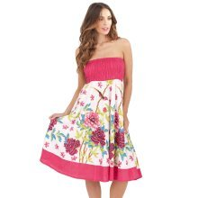 Pistachio, Ladies Two in One Cotton Summer Holiday Skirt Short Dress, Pink 2, X-Large (UK 20-22)