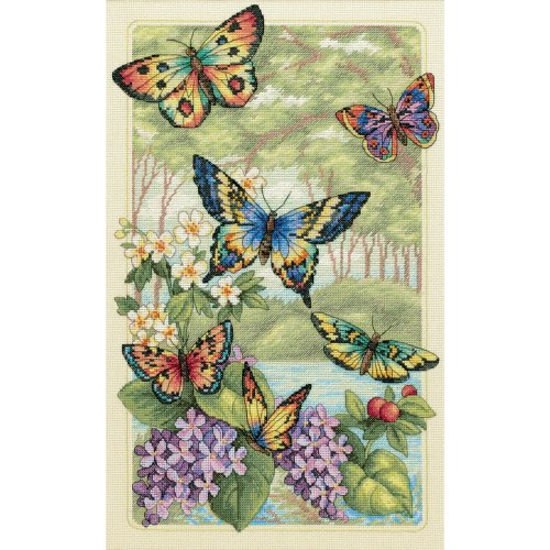 """Dimensions Gold Collection Counted Cross Stitch Kit 10""""X16""""-Butterfly Forest (14 Count)"""