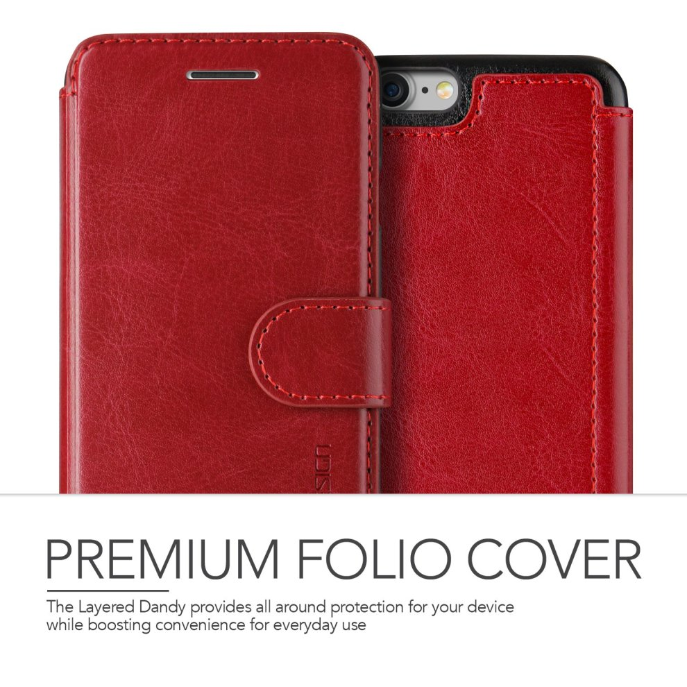 half off d3bf6 18689 iPhone 8 Case / iPhone 7 Case VRS Design [Red] High Quality PU Leather Case  | Layered Dandy | Flip Wallet Cover with 3 Card Slots for Apple iPhone...