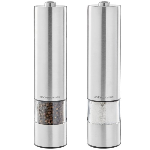 Andrew James Electric Salt and Pepper Mill Set | Battery Operated Brushed Stainless Steel Grinders | Adjustable Grinding Plates & Refillable...