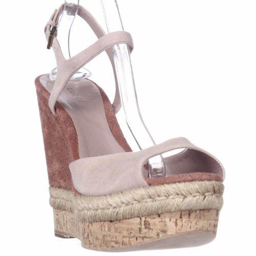 Gucci C2000 Cork Espadrille Wedge Platform Ankle Strap Sandals, Dark Cipria, 9 UK