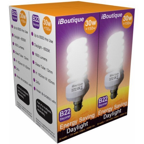 iBoutique IB-SADB001-4PK Daylight Energy Saving Light Bulb, Glass, B22 Bayonet, 30 W, Pack of 4