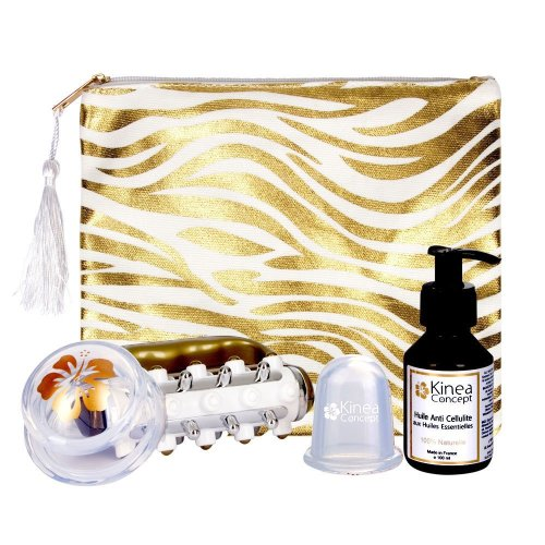 anti cellulite kit Zebra Gold, cellulite cups L and XL, cellulite massage roller, cellulite oil with essential oils 100% natural made in France,...
