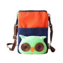 Cartoon Canvas Phone Bag Korean Version Of Lovely Girl Mini Cloth Bag Orange Owl