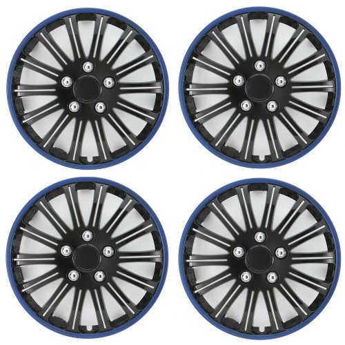 "Streetwize Car Wheel Trim Set 14"" Black Blue Ring Rims Set Of 4 Hub Caps Covers"