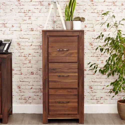 Mayan Walnut Furniture 3 Drawer Filing Cabinet