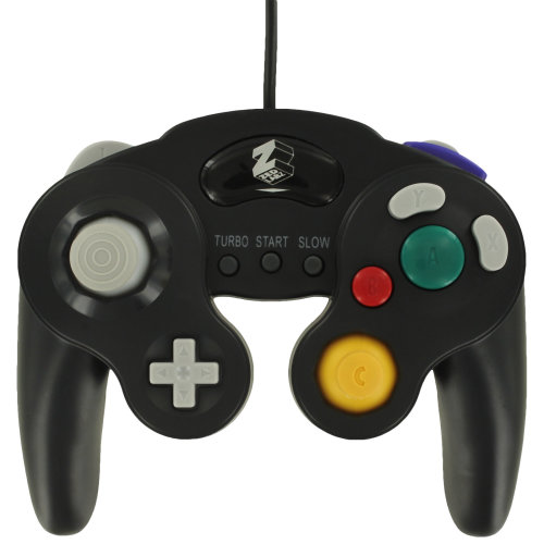 Controller for GameCube Nintendo Wired Vibration turbo gamepad ZedLabz – Black