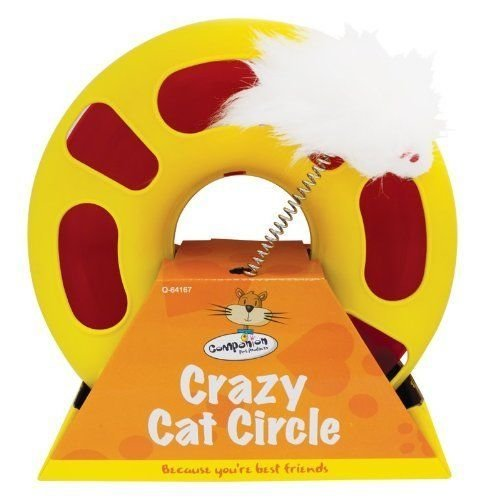 Cat Toys - Crazy Circle Cat Toy With Fluffy Mouse On Spring